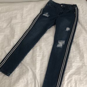 Girls distressed jeans with side stripe